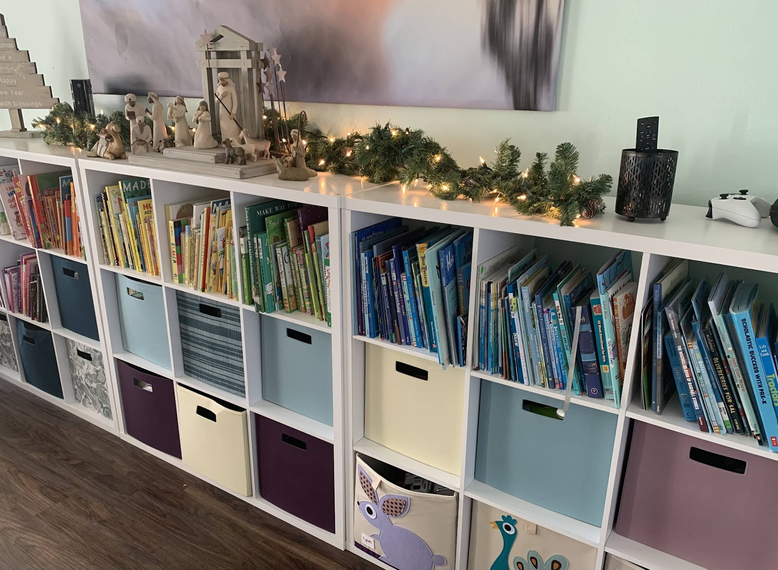 color coded home library - perfect if your 4 year old can read
