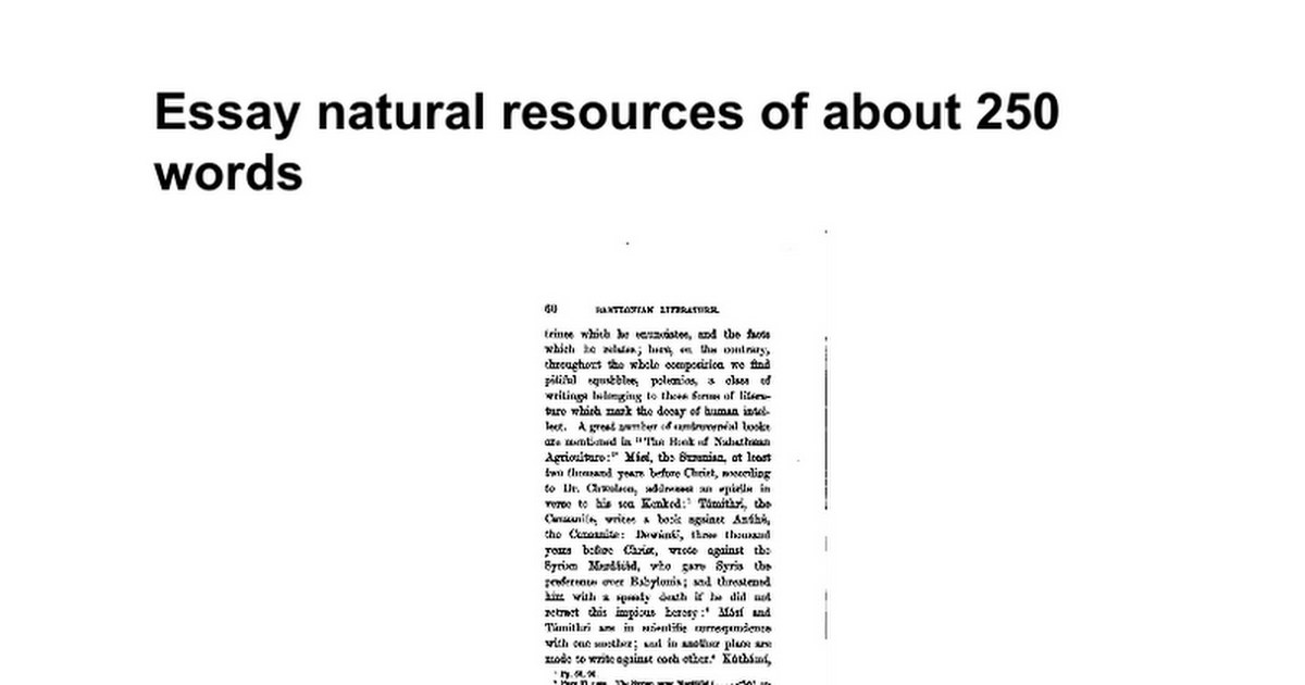 essay natural resources of about words google docs