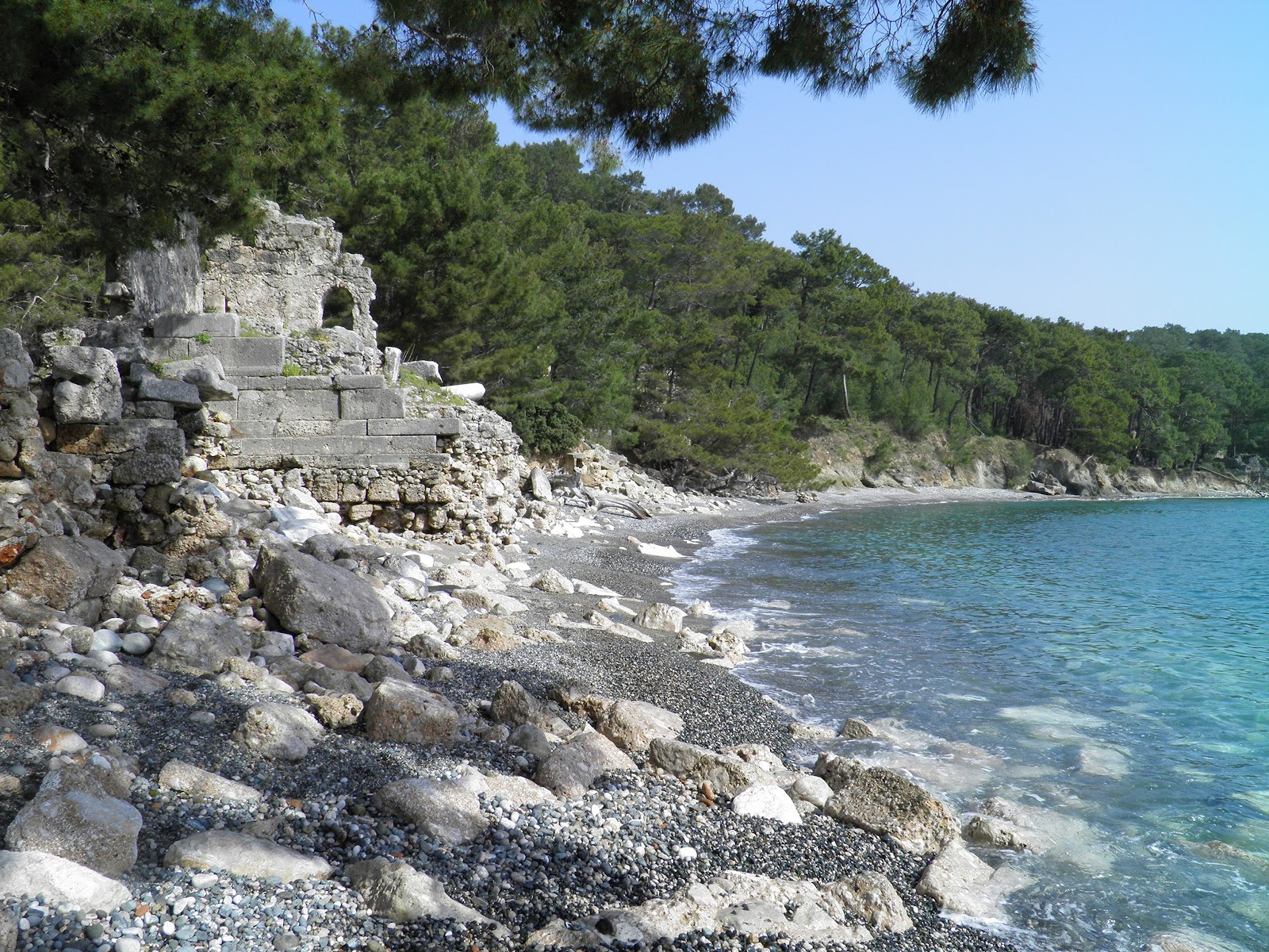 phaselis nothern harbor ruins on beach at turkish riviera