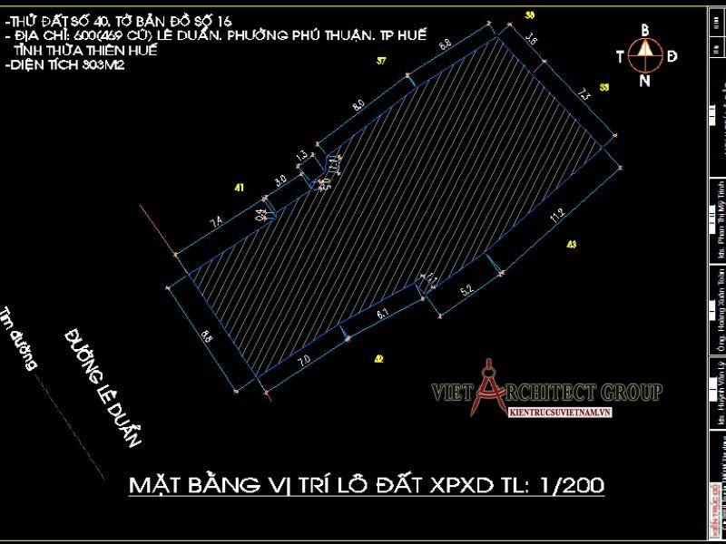 mat bang biet thu 1 - Thiết kế biệt thự 3 tầng kiến trúc tân cổ điển ở Huế