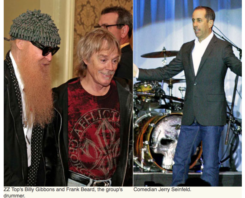 Karen Klopp, Hilary Dick article for New York Social Diary, What to Wear Everglades foundation party at thme breakers ZZTop Billy Gibbons, Frank Beard, Comedian Jerry Seinfeld