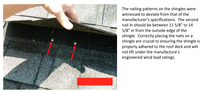 improper shingle installation leading to construction defect