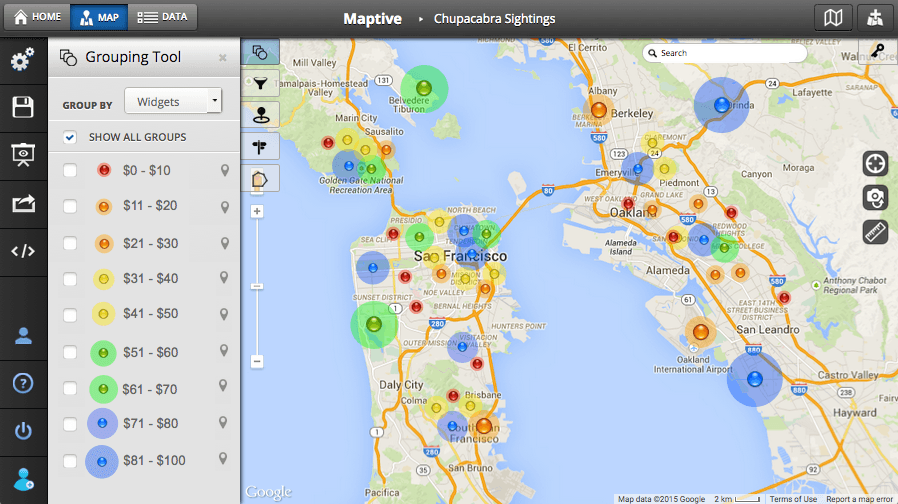 Maptive territory mapping software
