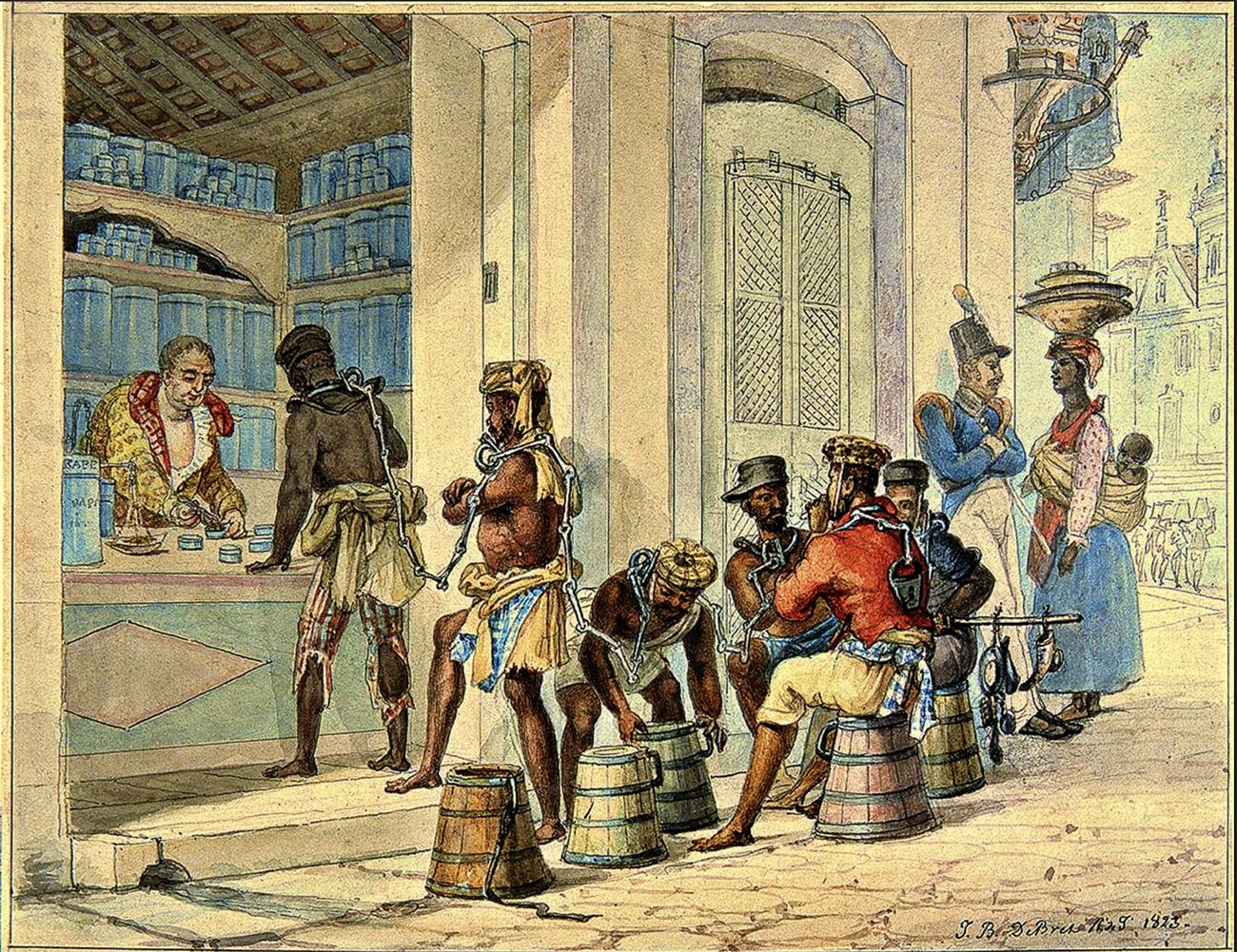 negros em venda, gravura de Debret