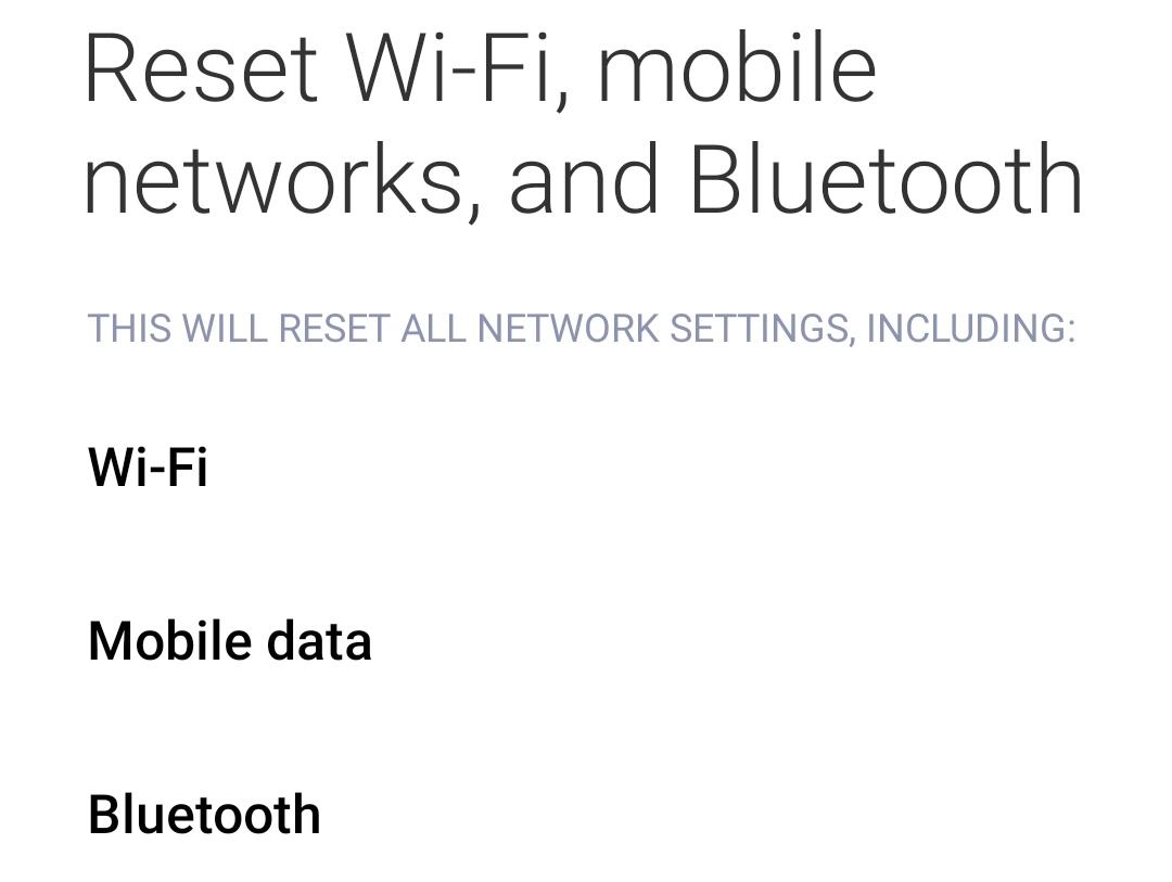 Reset Wi-Fi
