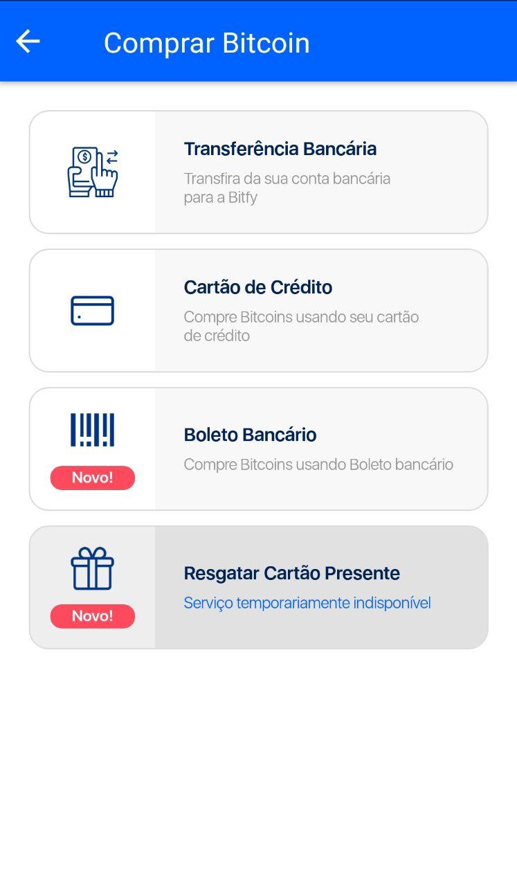 opções de pagamento para comprar bitcoin na bitfy