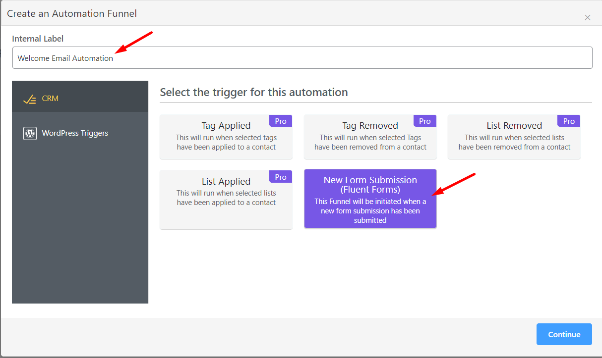 creating a welcome email automation for email subscribers in wordpress using fluentcrm