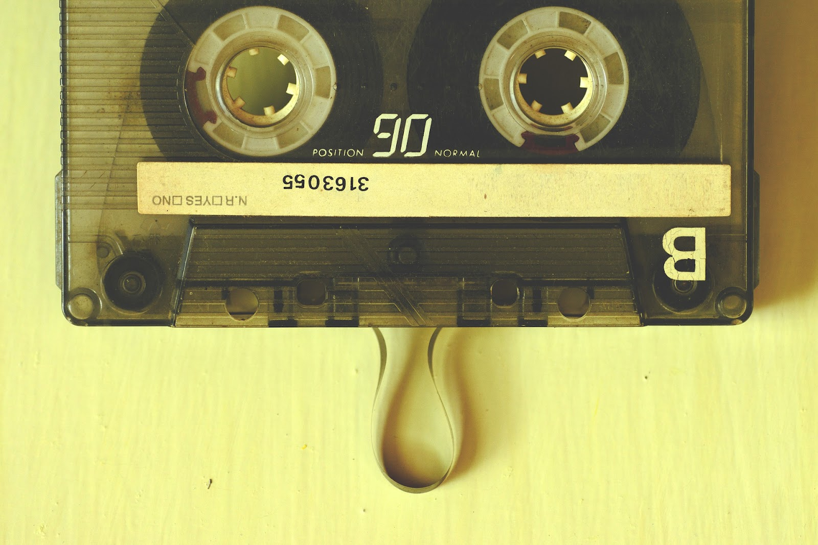 Cassette tape with some of the tape pulled out