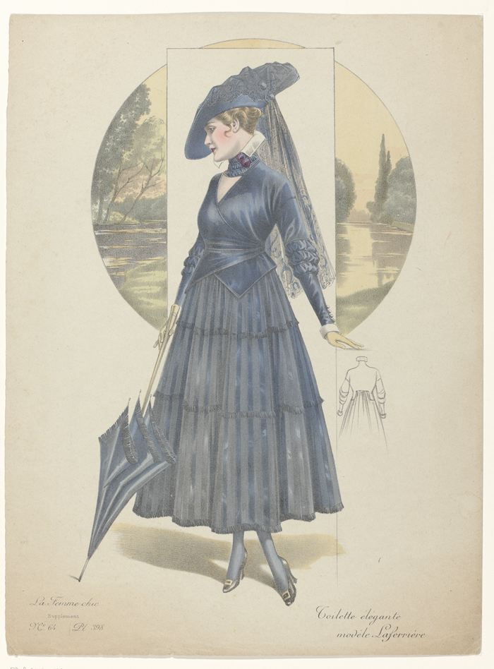 illustration of a 19th century woman in a blue dress with an umbrella