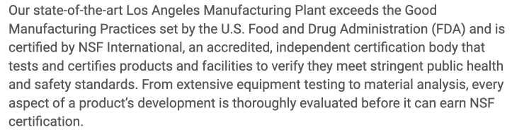 Sunrider claims they exceed Good Manufacturing Practices set by FDA