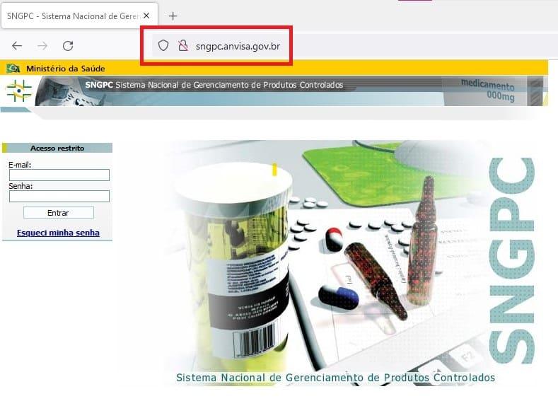 Tela de login do Anvisa SNGPC