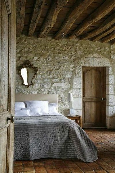 Rustic Bedroom Floor Covered with Natural Stones
