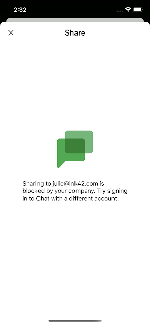Sharing to personal Chat account can be blocked by admins