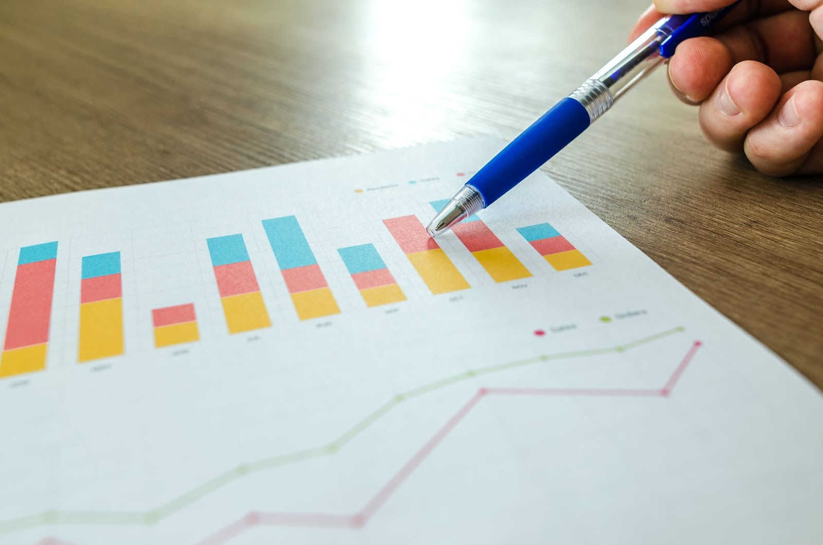 pen pointing on a piece of paper with analytics charts