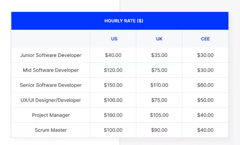 Software Developer's hourly rate