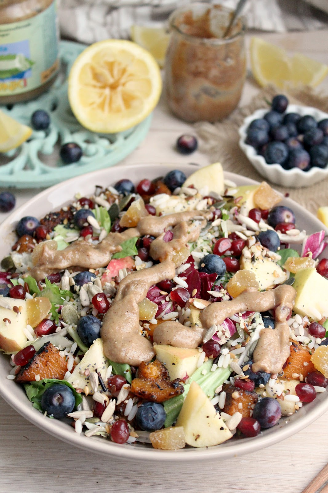 Wild Rice Rainbow Salad with Creamy Tahini Lemon Dressing - Honey & Figs