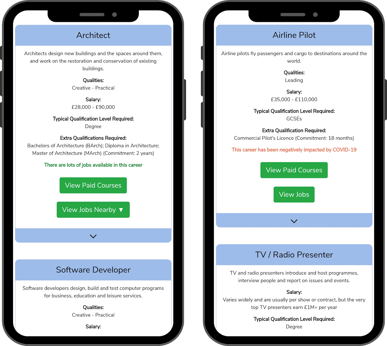 Screenshots of qualification and job demand labels in our old app design from October