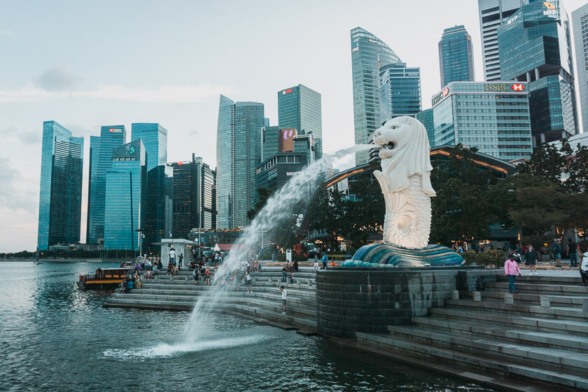 Merlion statue in central Singapore.