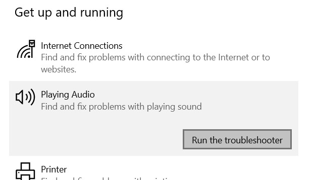 The Playing Audio option in the Get up and running section with the Run the troubleshooter option