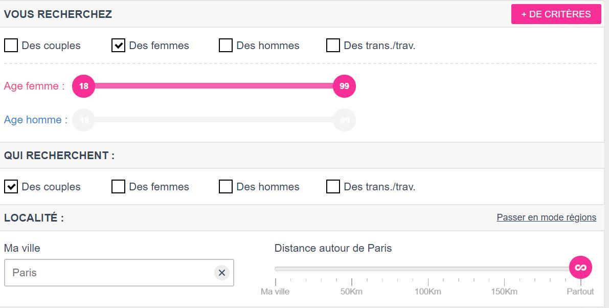 Ecran de choix des préférences sur le site NousLibertins