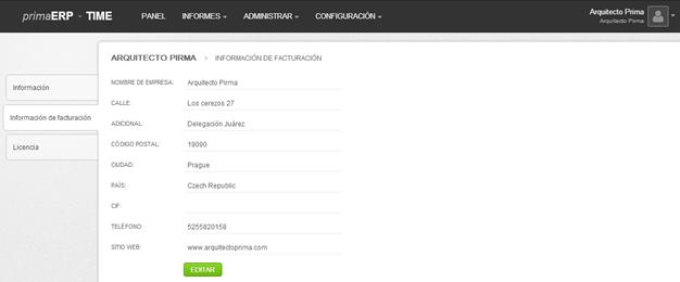 Información de facturación en el menú de configuración de la cuenta en primaERP.