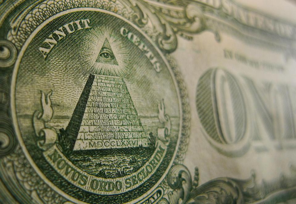 A close-up image of the back of the US Dollar