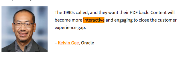 quote about interactive marketing from Kelvin Gee of Oracle