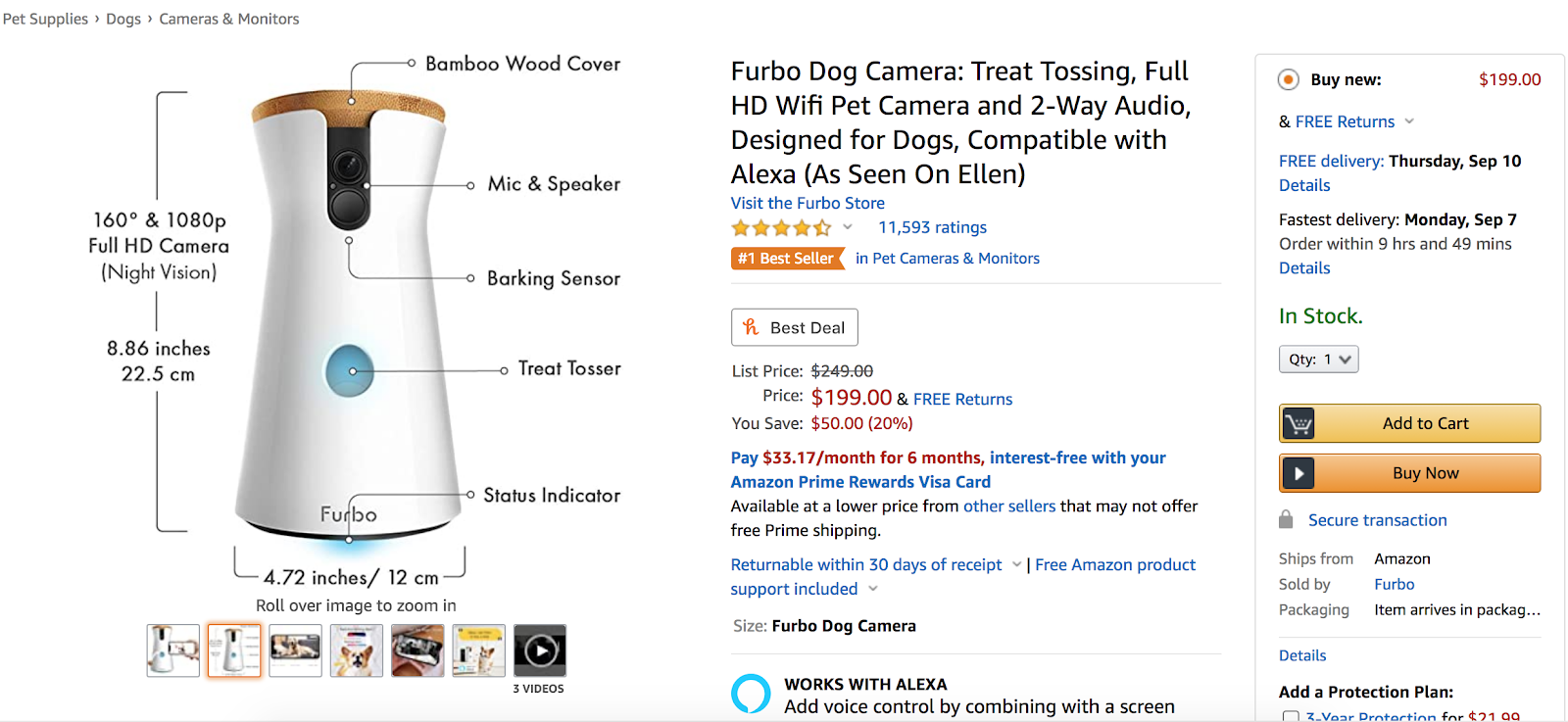 Furbo Dog Camera Amazon listing