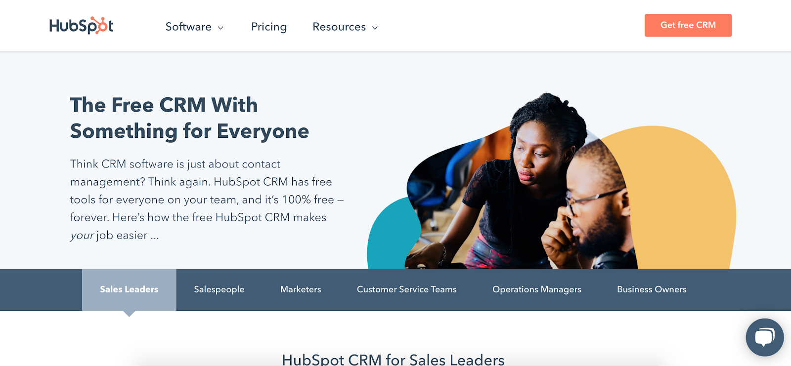 HubSpot free CRM homepage
