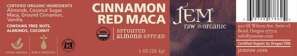 Label, JEM Raw Organic CINNAMON RED MACA Sprouted Almond Spread, 1 oz.