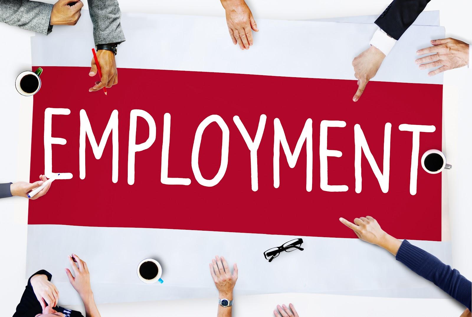 """Várias mãos apontando para uma placa escrita """"Employment""""."""