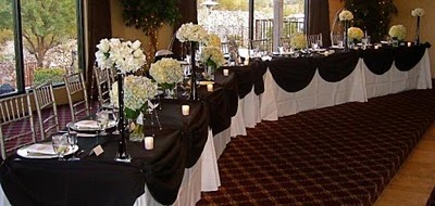 Head table wedding reception decor