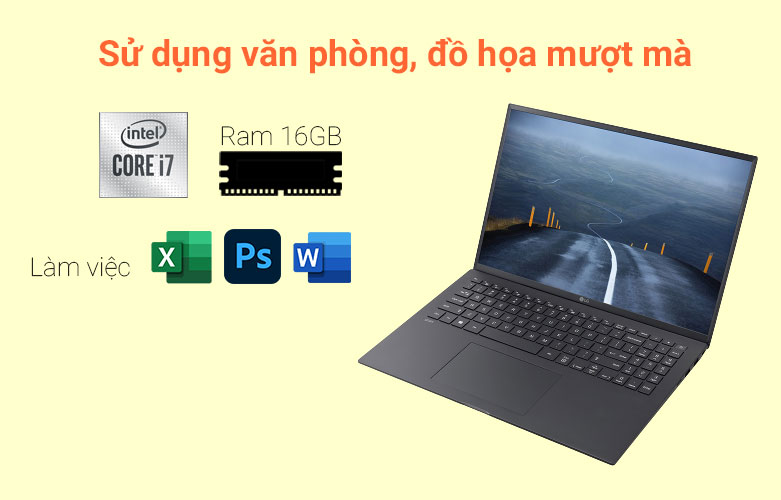 Laptop LG Gram 2021 16Z90P-G.AH75A5 (i7-1165G7) (Đen)   Hiệu năng tối ưu