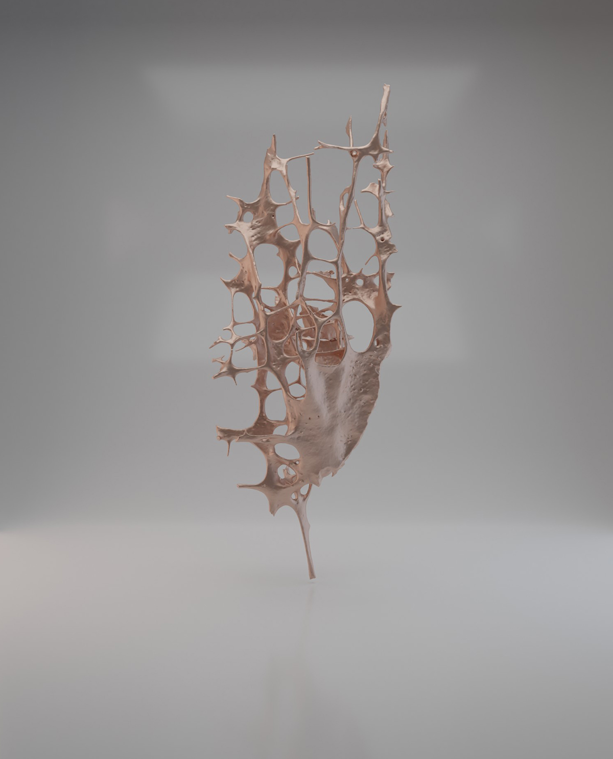 Beige structure shaped like a branching network, suspended in the air