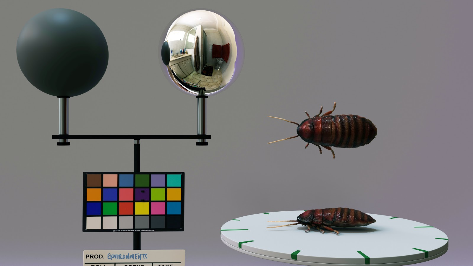 Passes of animated CG bugs complete with texturing and lighting.