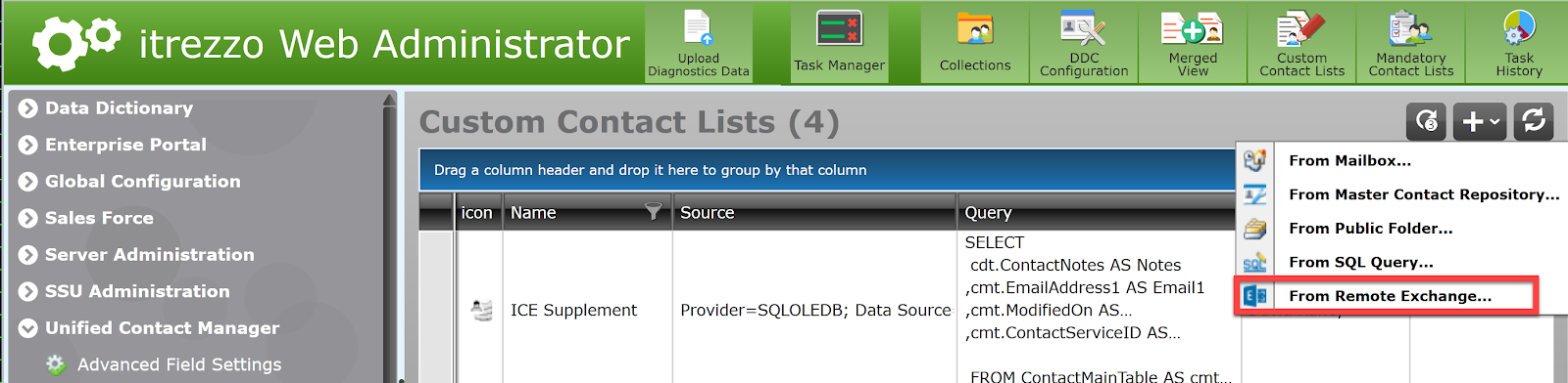 choosing a contact source for an Outlook contact folder