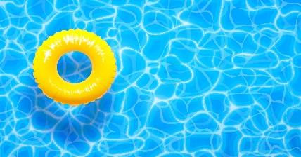 Yellow pool float on water