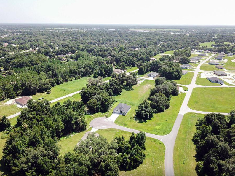 Aerial view of home sites at Summercrest in Ocala