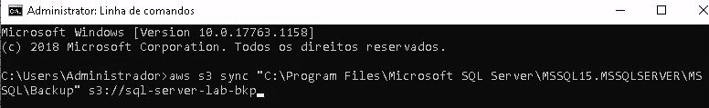 """Print com o terminal do Windows, fundo preto, letras brancas com o código aws s3 sync """"C:\Program Files\Microsoft SQL Server\MSSQL15.MSSQLSERVER\MSSQL\Backup"""" s3://sql-server-lab-bkp"""
