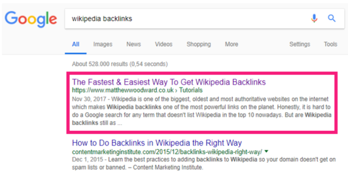 Wikipedia Backlinks Top Spot