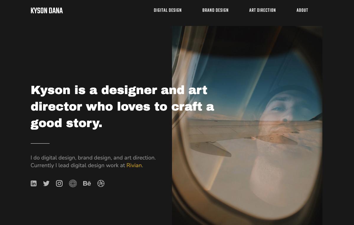 Snapshot of Kyson Dana's UX design portfolio.