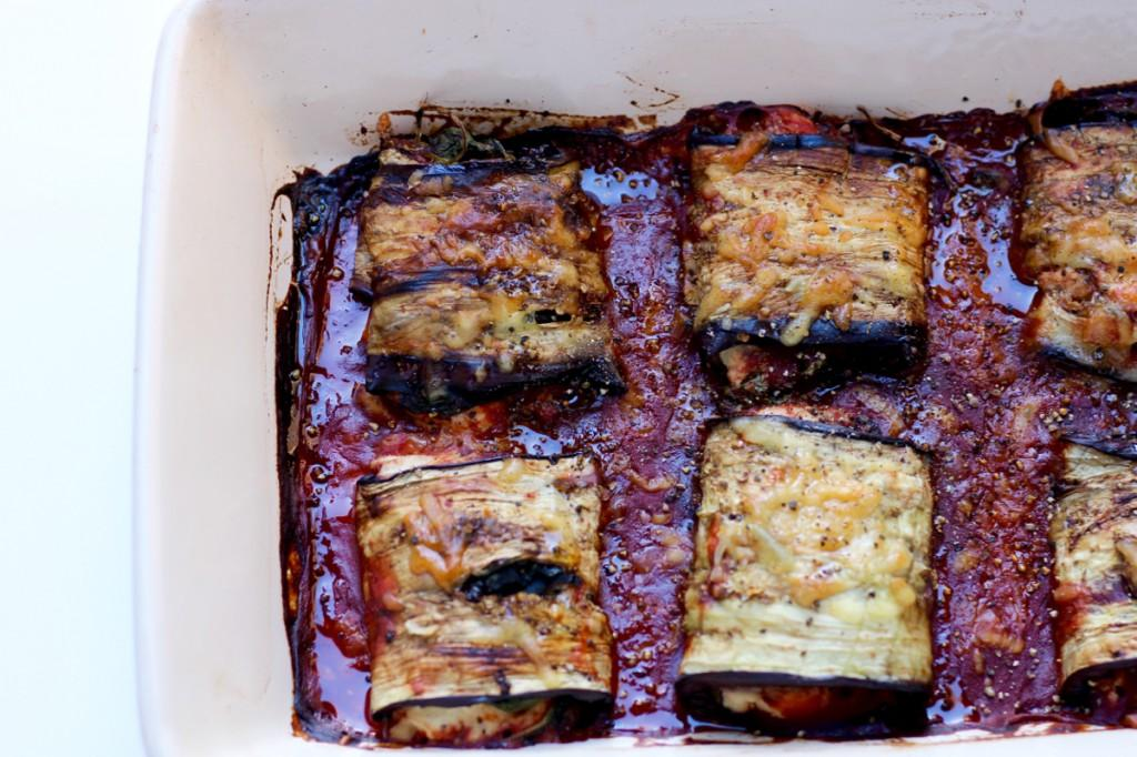 Top View of baking pan of Simple Eggplant Rollatini