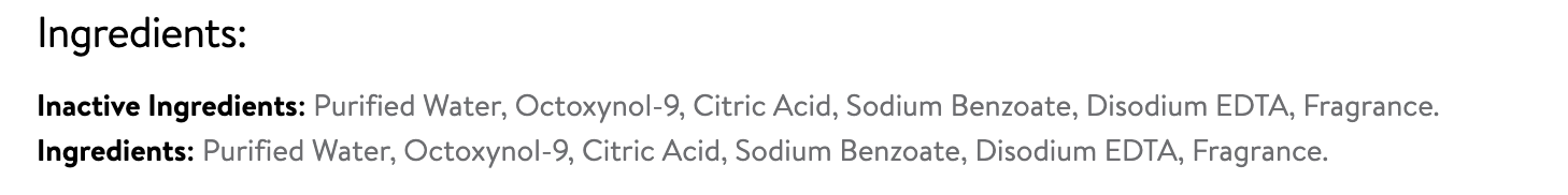 ingredients in Summer's Eve Vaginal Douching product