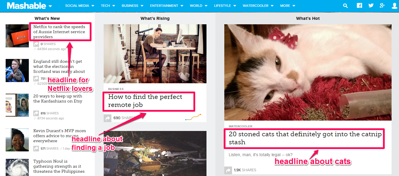 A screenshot on the platform Mashable showing examples of headlines.