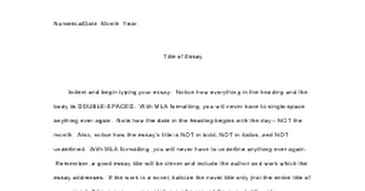 heading of an essay