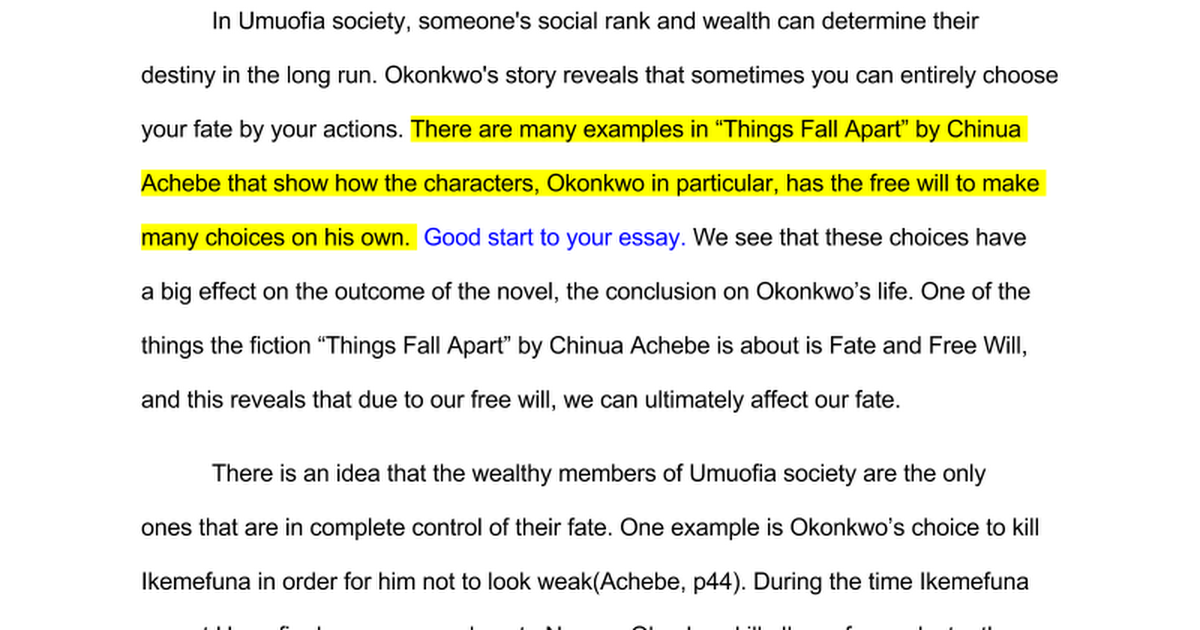 things fall apart essay google docs
