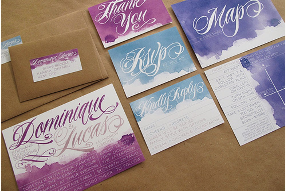 DIY Wedding Invitations Watercolour Silhouettes