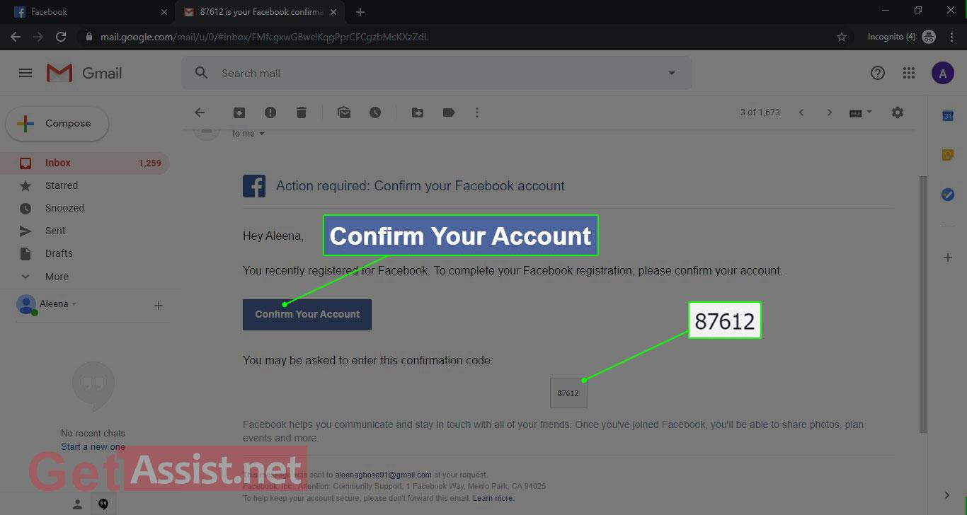 Confirm your account with Gmail verification