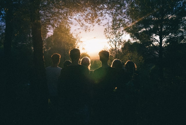 Group of people looking into the distance in a forest