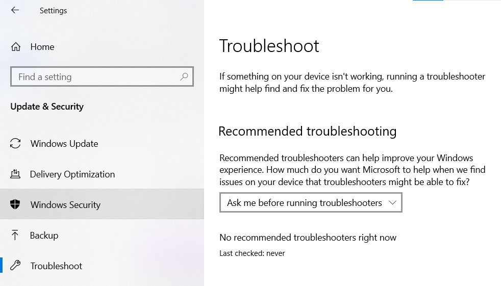 The Troubleshoot page in Windows